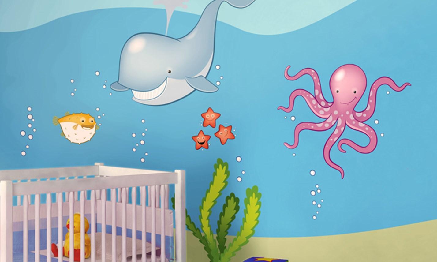 Stickers murali bambini cameretta in fondo al mare - Decorazioni pareti bambini ...